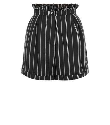 Cameo Rose Black Stripe Paper Bag Shorts New Look