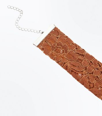 Rust Floral Lace Choker New Look
