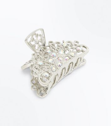 Silver Embellished Filigree Bulldog Clip New Look