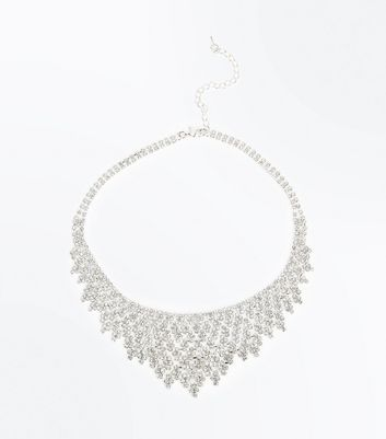 Silver Diamante Embellished Necklace New Look