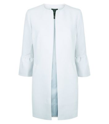 Pale Blue Collarless Frill Sleeve Coat New Look