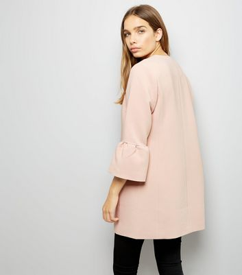 Pink Collarless Frill Sleeve Coat New Look