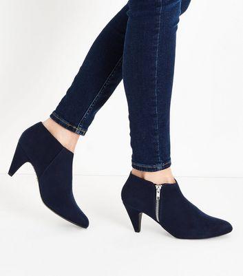 Navy Comfort Flex Suedette Cone Heel Shoe Boots New Look