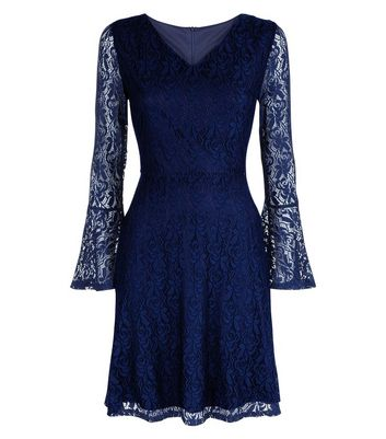 Mela Navy Lace Bell Sleeve Dress New Look