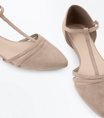 Wide Fit Brown T Bar Pointed Ballet Pumps New Look