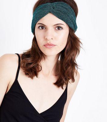 Green Glitter Twist Hairband New Look