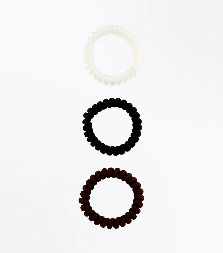 3 Pack Black and White Spiral Hair Bobbles  50d66be77bc