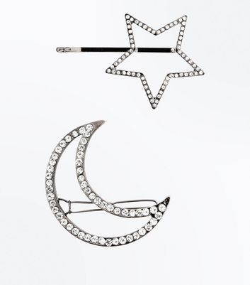 Silver Diamante Embellished Cosmic Hair Slides New Look