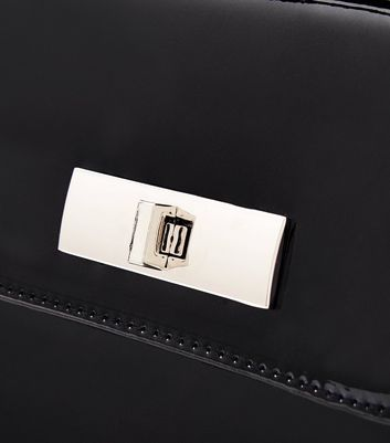 Black Patent Faux Fur Strap Handle Box Bag New Look