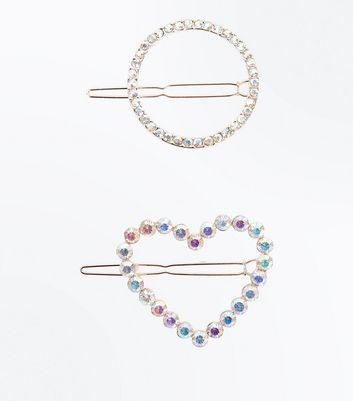 2 Pack Heart And Circle Gem Stone Hair Slides New Look