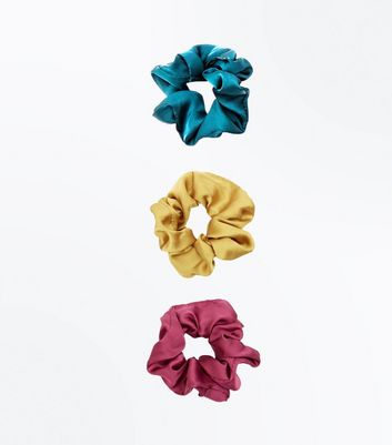 3 Pack Multicoloured Satin Scrunchies New Look