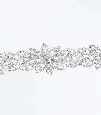 Crystal Flower Wide Choker New Look