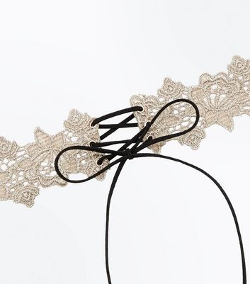 Gold Floral Lace Up Choker New Look