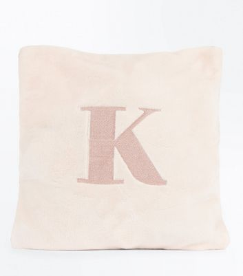 Pink Embroidered K Initial Cushion New Look