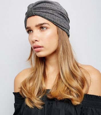 Silver Glitter Knot Front Hat New Look
