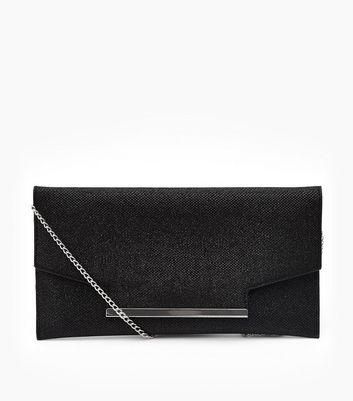 Black Glitter Flat Clutch Bag New Look