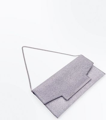 Silver Glitter Flat Clutch Bag New Look