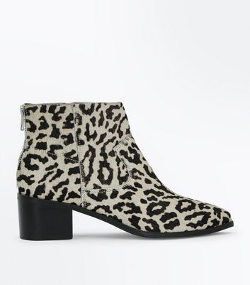 Stone Premium Leather Faux Pony Hair Leopard Print Boots New Look