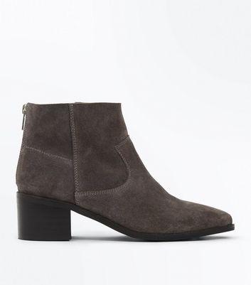 Grey Suede Block Heel Ankle Boots New Look