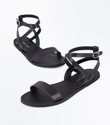 Black Cross Strap Sandals New Look