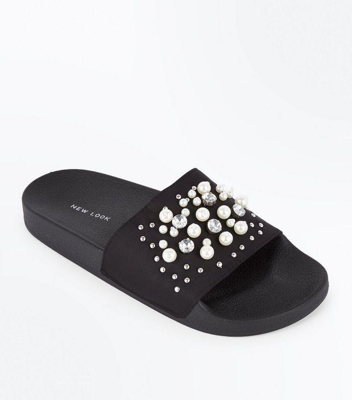 ded6c826728283 Black Satin Faux Pearl Embellished Sliders