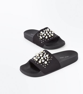 Black Satin Faux Pearl Embellished Sliders New Look