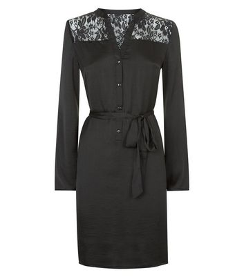Mela Black Lace Trim Shirt Dress New Look