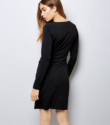 Mela Black Wrap Front Long Sleeve Dress New Look