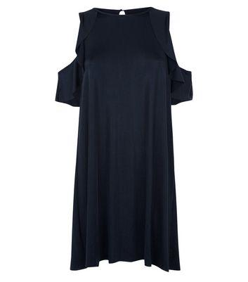 Mela Metallic Black Cold Shoulder Dress New Look