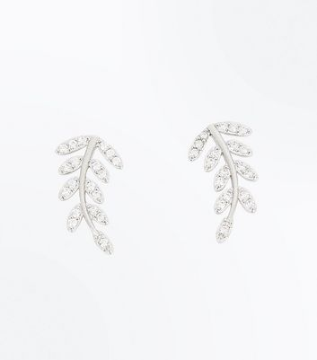 2 Pack Silver Cubic Zirconia Embellished Leaf Earcuffs New Look