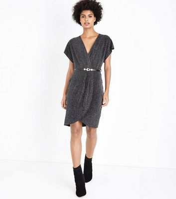 Mela Silver Glitter Wrap Front Dress New Look
