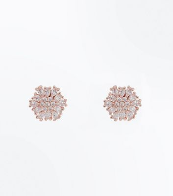 Rose Gold Cubic Zirconia Flower Stud Earrings New Look