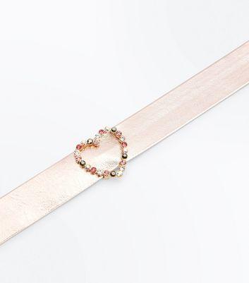 Pink Metallic Embellished Heart Choker New Look