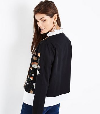 Black Floral Embroidered Jacket New Look