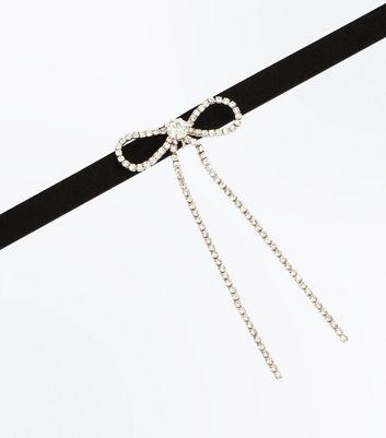 Black Diamante Embellished Bow Choker New Look