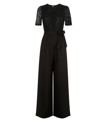 Mela Black Lace Top Wide Leg Jumpsuit New Look
