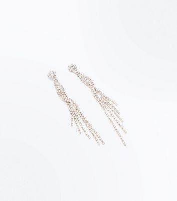 Rose Gold Cubic Zirconia Twist Shoulder Duster Earrings New Look