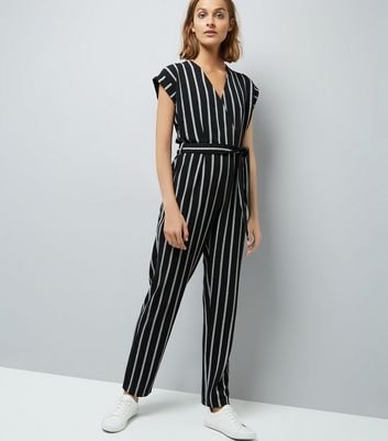 Mela Black Stripe Wrap Front Jumpsuit New Look