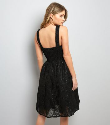 Mela Black Floral Lace Sleeveless Prom Dress New Look