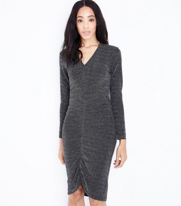 Mela Silver Glitter Ruched Front Midi Dress New Look