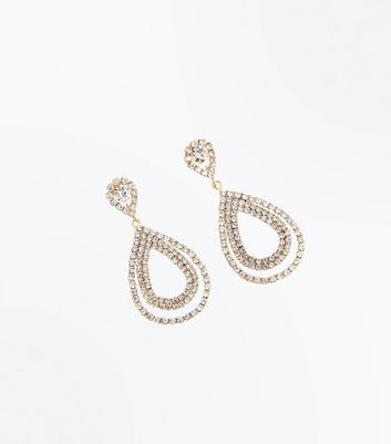 Gold Embellished Double Teardrop Earrings New Look