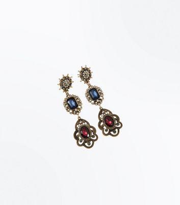 Gold Gem Stone Chandelier Earrings New Look