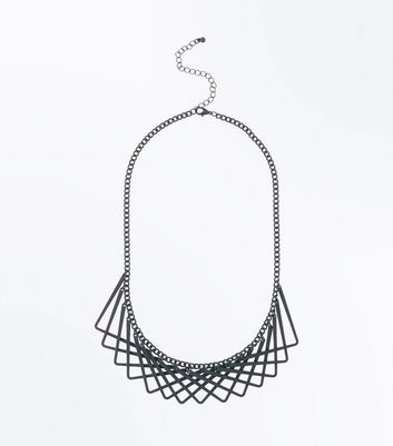 Black Geometric Overlap Necklace New Look