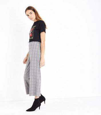 Black Check Wide Leg Cropped Trousers New Look