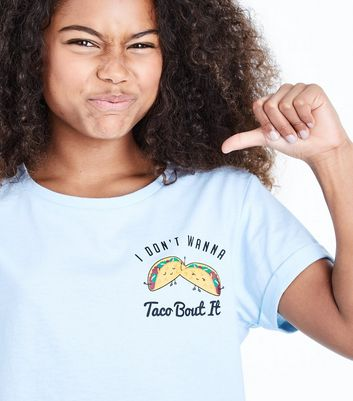 Teens Pale Blue Taco Slogan Pyjama Set New Look