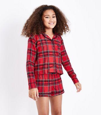 Teens Red Tartan Flannel Stay Up Slogaon Pyjama Set New Look