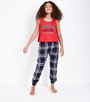 Teens Blue Flannel Chocolate Slogan Pyjama Set New Look