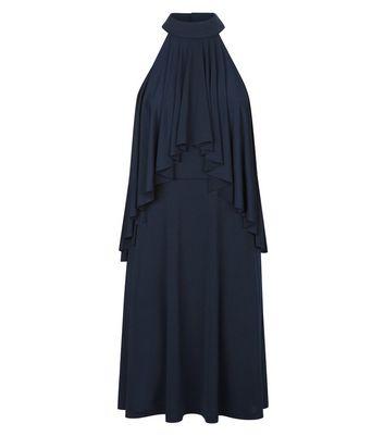 Mela Navy Frill Trim High Neck Dress New Look