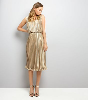 Mela Gold Pleated Dress New Look