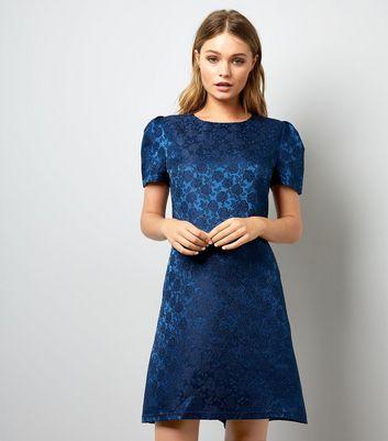 Mela Blue Embossed Rose Satin Dress New Look